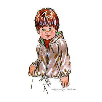BOYS GIRLS WINDBREAKER Jacket Pattern Child's Hooded Jacket Coat Pattern Toddler Size 2 3 4  Kwik Sew 967 UNCuT Child Sewing Patterns