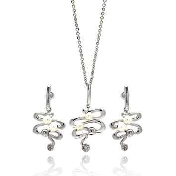Rhodium Plated Brass Zigzag Snake Pearl Drop Clear Cubic Zirconia Hanging Stud Earring & Necklace Set: SOD