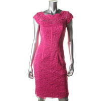ML Monique Lhuillier Womens Lace Cap Sleeves Cocktail Dress