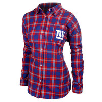 New York Giants Wordmark Long Sleeve Women's Flannel Shirt by Klew