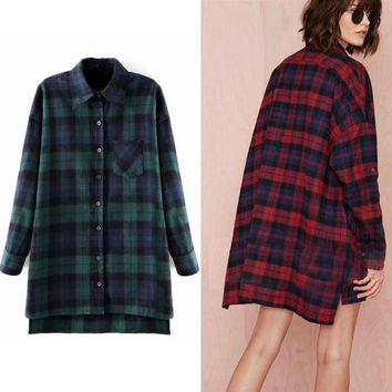 Loose Long Style Tartan Coats Tee