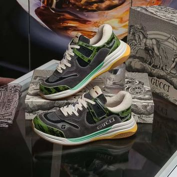 Gucci Men's Ultrapace sneaker Green Tejus Printed Leather - Best Online Sale