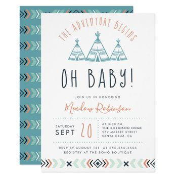 Oh Baby Tribal TeePee Adventure Begins Baby Shower Card