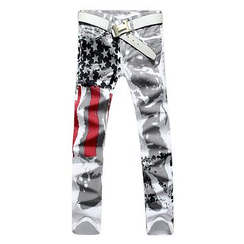 New Luxury Brand Stretch Mens Jeans American Flag Printing Cut Jeans Men Casual Slim Fittness Trousers Denim Hip Hop Jeans Pants