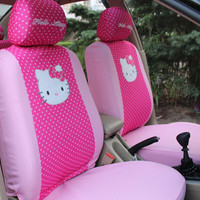 6pcs Cartoon Universal Hello Kitty Car Seat Covers set Universal Car interior Accessories-Only front two seat