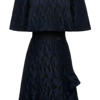 Ruffled Hem Jacquard and Satin Dress