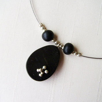 SALE - Sterling Silver and Ebony Pendant - Oval Pendant - Everyday Necklace - Black and Silver Necklace - Black seeds - Unique contemporary