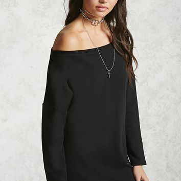 Boat Neck Sweatshirt Dress