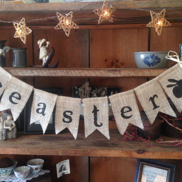 Easter Bunting, Bunny Bunting, Rabbit Bunting, Easter Bunny Bunting, Burlap Easter Bunting, Bunny Garland, Easter Decoration, Easter Garland