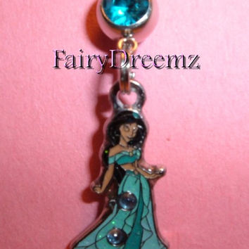 Princess Jasmine in Aqua with Purple Rhinestones From ALADDIN Disney Belly Navel Ring Body Jewelry