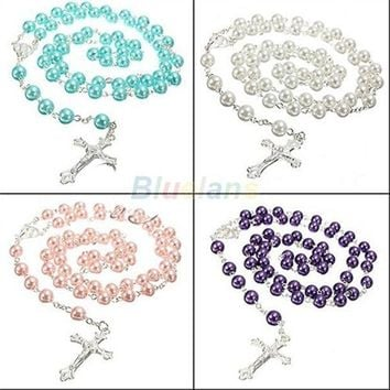ICIKIX3 Long Rosary Chain Imitate Pearl Ball Beads Pendant Necklace Silver Drop Cross = 1946739908