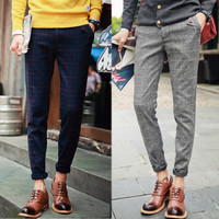 Checkered Style Wool Blended Winter Pants