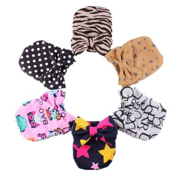 New Brand Cute Baby Cotton Hats Hot Newborn Toddler Cute Bow Girls Hospital Hat Dots Zebra Printing Bowknot Beanie Cap 1pc H535