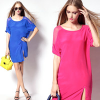 Short Sleeve Mesh Panel Dress