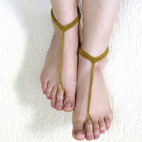 Silvery Gold  Barefoot Sandals,Crochet Sandals,Sexy Foot Jewelry ,Silvery gold sandles.. Yoga, Foot Thongs, Nude Shoes, Lace Sandles