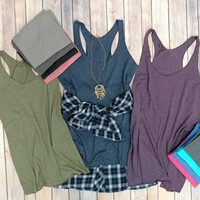 Long Length Soft Flowy High Tank Tops