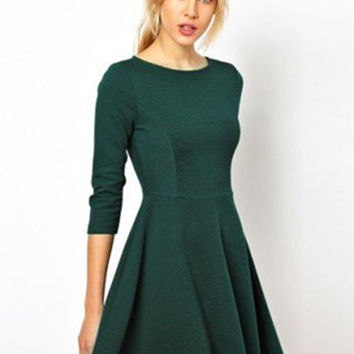 Three-Quarter Sleeve Waist Mini Dress