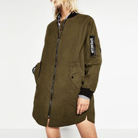 2016 New Fashion Women long Bomber Jacket Ladies Winter Casual Army Green Jacket Femme Basic Jackets and Coats Street Outwears
