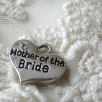 2- Mother of the Bride Heart Pendant Wedding Day Mothers Special Gift Trinket Silver Heart Charm Double Sided 3D Jewelry Making Supplies
