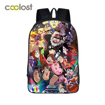 Anime Gravity Falls Children School Bags Boys Girls School Backpack Cartoon Dipper Mabel Backpack For Teenagers 3D Kids Book Bag