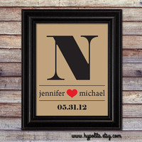 Special Date and Monogram Print - Wedding Gift - Anniversary Gift - Housewarming Gift