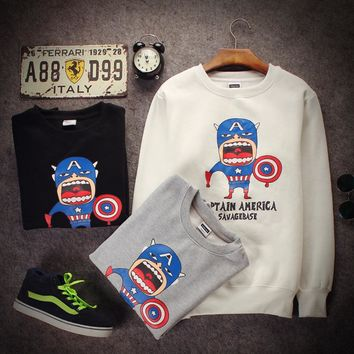 Autumn and winter men 's long - sleeved sweater men' s cotton sweater street sets the first paragraph of clothing tide