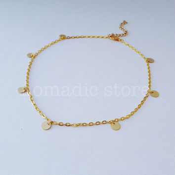 *low in stock!* matte gold disk chain choker - Nomadic Store