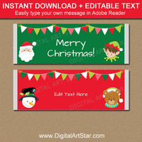Christmas Candy Bar Wrappers, PRINTABLE Christmas Candy Wrappers, Christmas Chocolate Bar Wrapper Template, Kids Christmas Party Favors C2