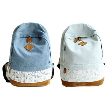 ChinKar New Fashion Casual Lace Denim Women Bag Canvas Backpack Schoolbag Female Bag