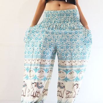 long yoga pants comfy baggy pants elephant designed purple boho clothing free size, cute light blue