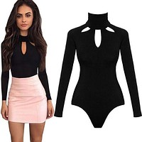 Womens Ladies High Neck Keyhole V-Neck Bodysuit Long Sleeve Leotard Top Blouse