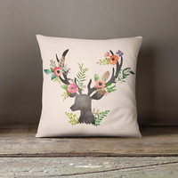 Floral Deer Pastel Throw Pillow