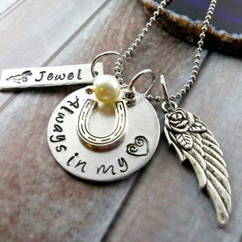 Horse Memorial Jewelry~ Equine Jewelry~ Horseshoe Jewelry~ Angel Wing Jewelry~ Pet Loss Necklace~ In Memory Of Pet~ PoliteTwistedJewel~ #N61