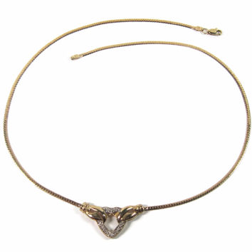 Vintage 10K Diamond Herringbone Heart Necklace