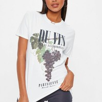 Missguided - White Washed Du Vin Graphic T Shirt