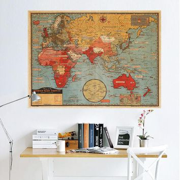 VONEC4W World Map Leather Sea Living Room Wall Sticker [9576041295]