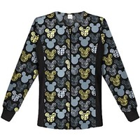 Buy Cherokee Tooniforms Women's Just Scrolling Along! Zip Front Knit Panel Warm-Up Scrub Jacket for $26.95