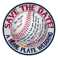 Baseball Wedding Save-The-Date-Template 3 5.25x5.25 Square Paper Invitation Card