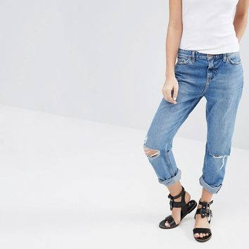 New Look Turn Up Busted Knee Jeans