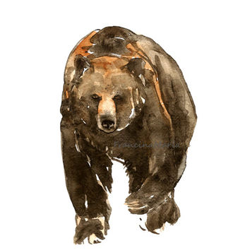 Bear, Animal Art, Watercolor Painting Art, Brown Bear painting Artprint, Woodland, wildlife, Home Decor