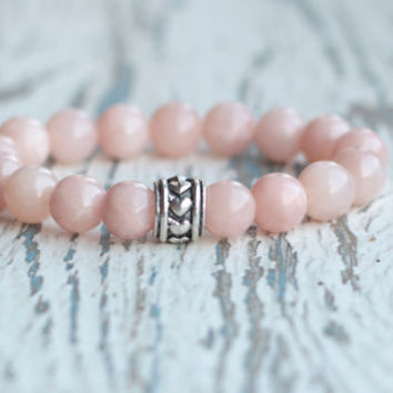 love bracelet pink girls bracelet jewelry women beaded bracelet gift for girlfriend mom loved bracelet summer pastel bracelet salmon rose