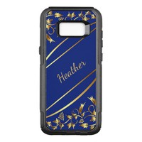 Blue and chic gold colored classic decor with name OtterBox commuter samsung galaxy s8+ case