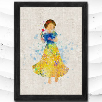 Snow White art, Disney Watercolor Art Print Home Decor Giclee Wall Art Poster Wall Decor Art Home Decoration Linen Poster CAP02