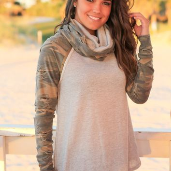 Gray Sweater with Camo Sleeves