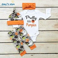 Baby clothing sets Halloween Newborn Baby Boy Girl letter Romper Pants Leggings Hat Outfits Set Costume