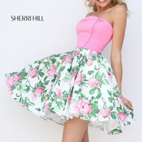 Strapless Printed Cocktail Dress by Sherri Hill