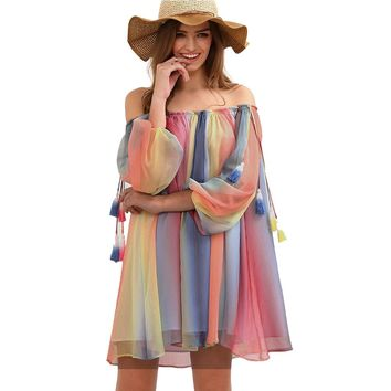 Off shoulder Slash Neck Sexy Beach Casual Dresses Lantern Sleeve Multi color Print Shift Loose Mini Chiffon Women Dress