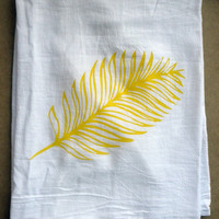 Tropical Palm Leaf Kitchen Tea Towel in Yellow