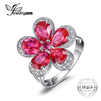 JewelryPalace Flower 5ct Created Red Ruby Cocktail Ring 925 Sterling Silver Ring Fashion Design Statement Ring for Women