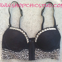 Studded Bra 34C Black and Leopard Lace Push Up Bustier